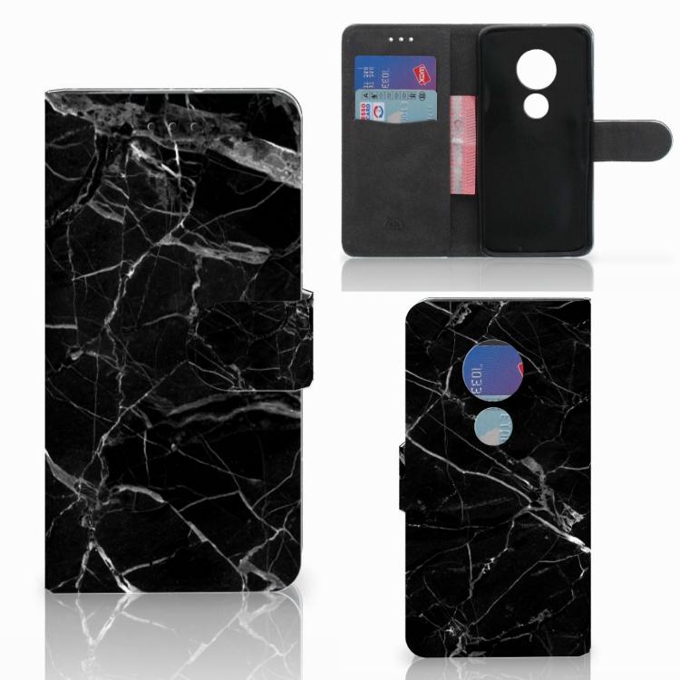 Motorola Moto G7 Play Bookcase Marmer Zwart