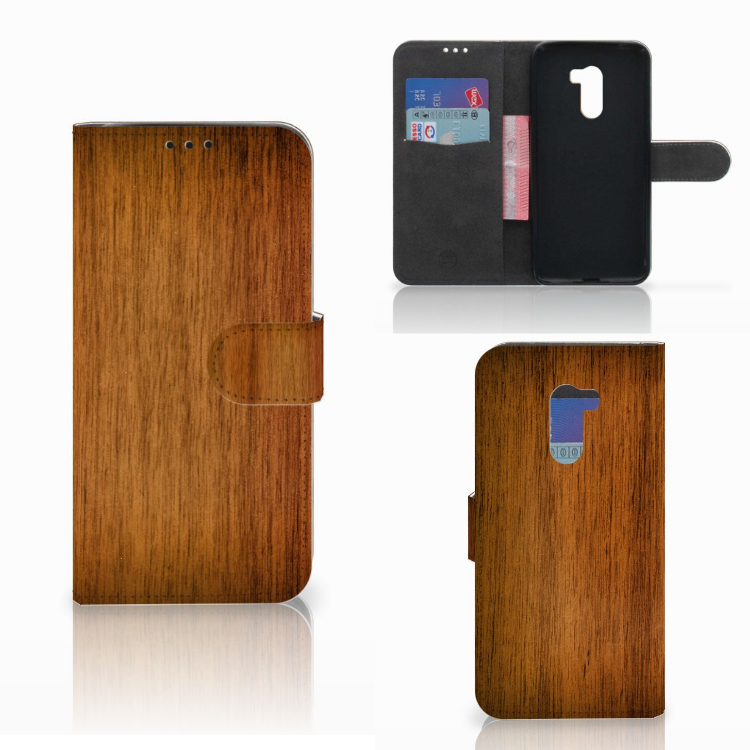 Xiaomi Pocophone F1 Book Style Case Donker Hout
