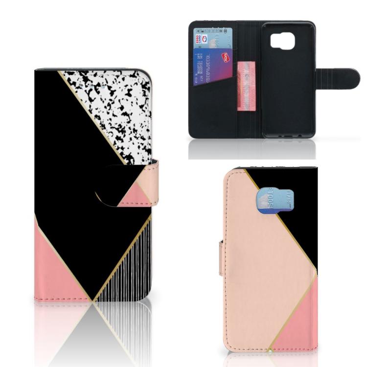 Samsung Galaxy S6 | S6 Duos Bookcase Zwart Roze Vormen