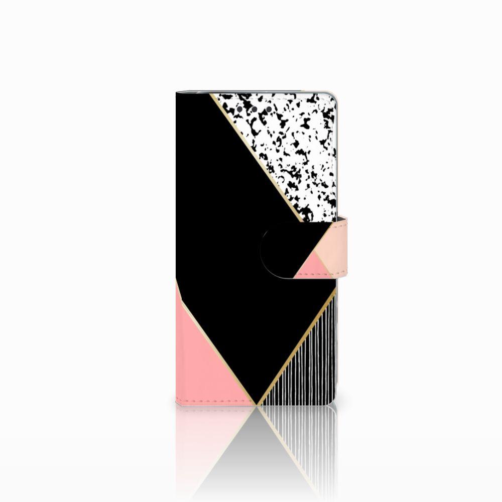 Sony Xperia X Performance Boekhoesje Black Pink Shapes