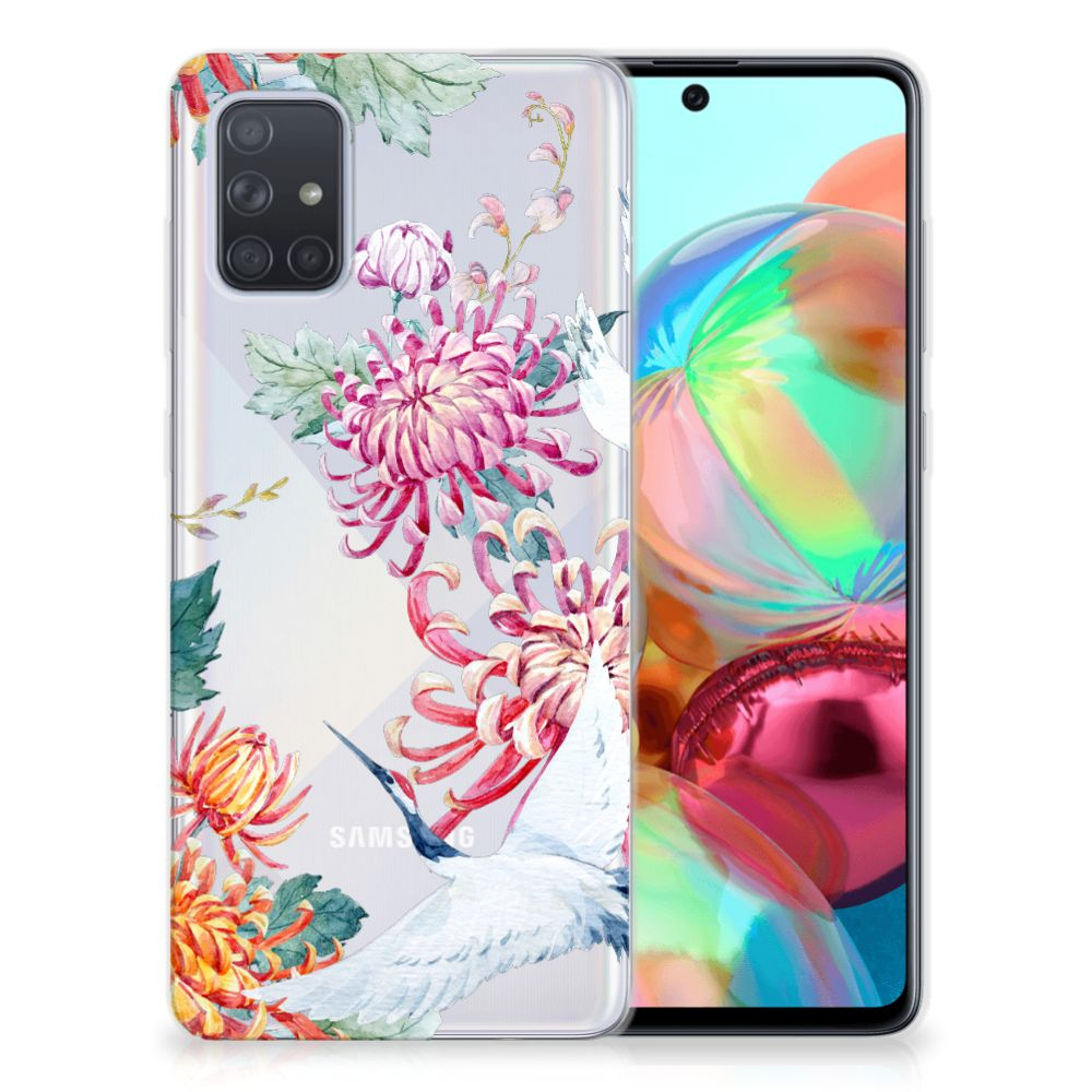 Samsung Galaxy A71 TPU Hoesje Bird Flowers