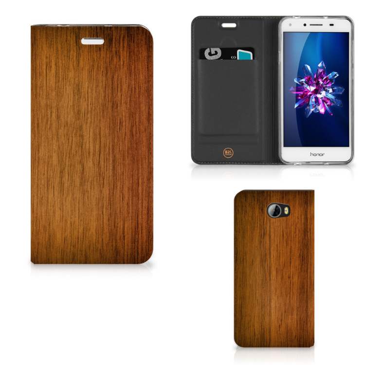 Huawei Y5 2 | Y6 Compact Book Wallet Case Donker Hout