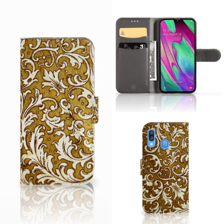 Wallet Case Samsung Galaxy A40 Barok Goud