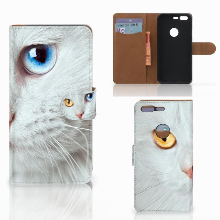 Google Pixel Telefoonhoesje met Pasjes Witte Kat