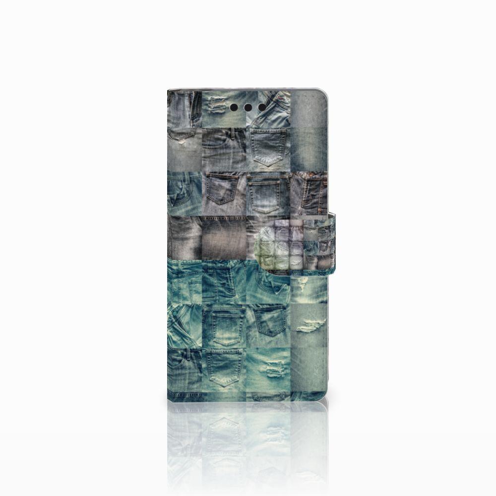 Sony Xperia M4 Aqua Uniek Boekhoesje Spijkerbroeken