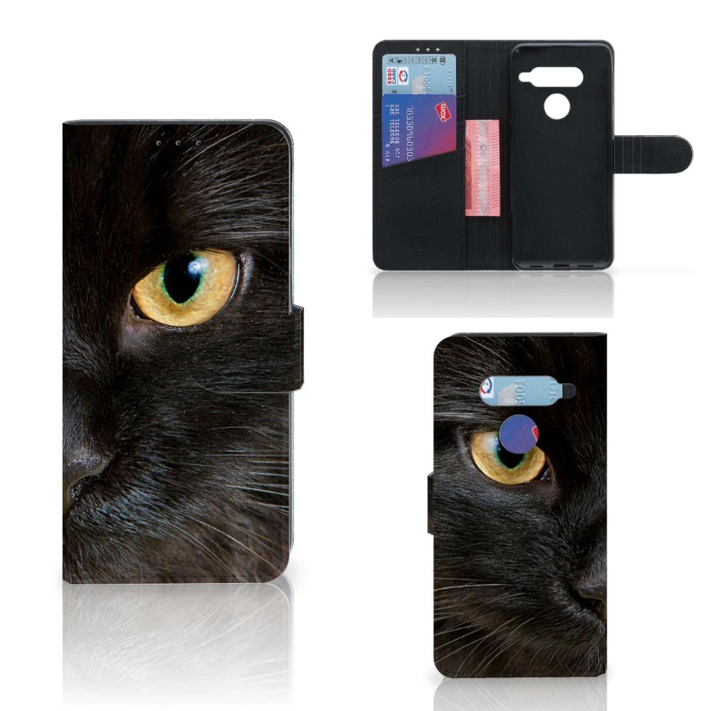 LG V40 Thinq Telefoonhoesje met Pasjes Zwarte Kat