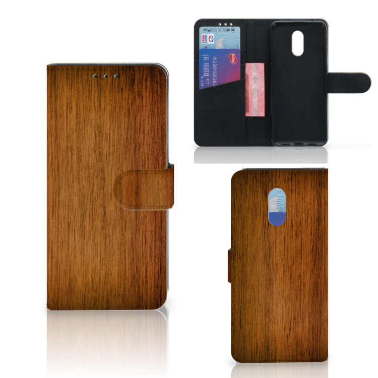 OnePlus 6T Book Style Case Donker Hout