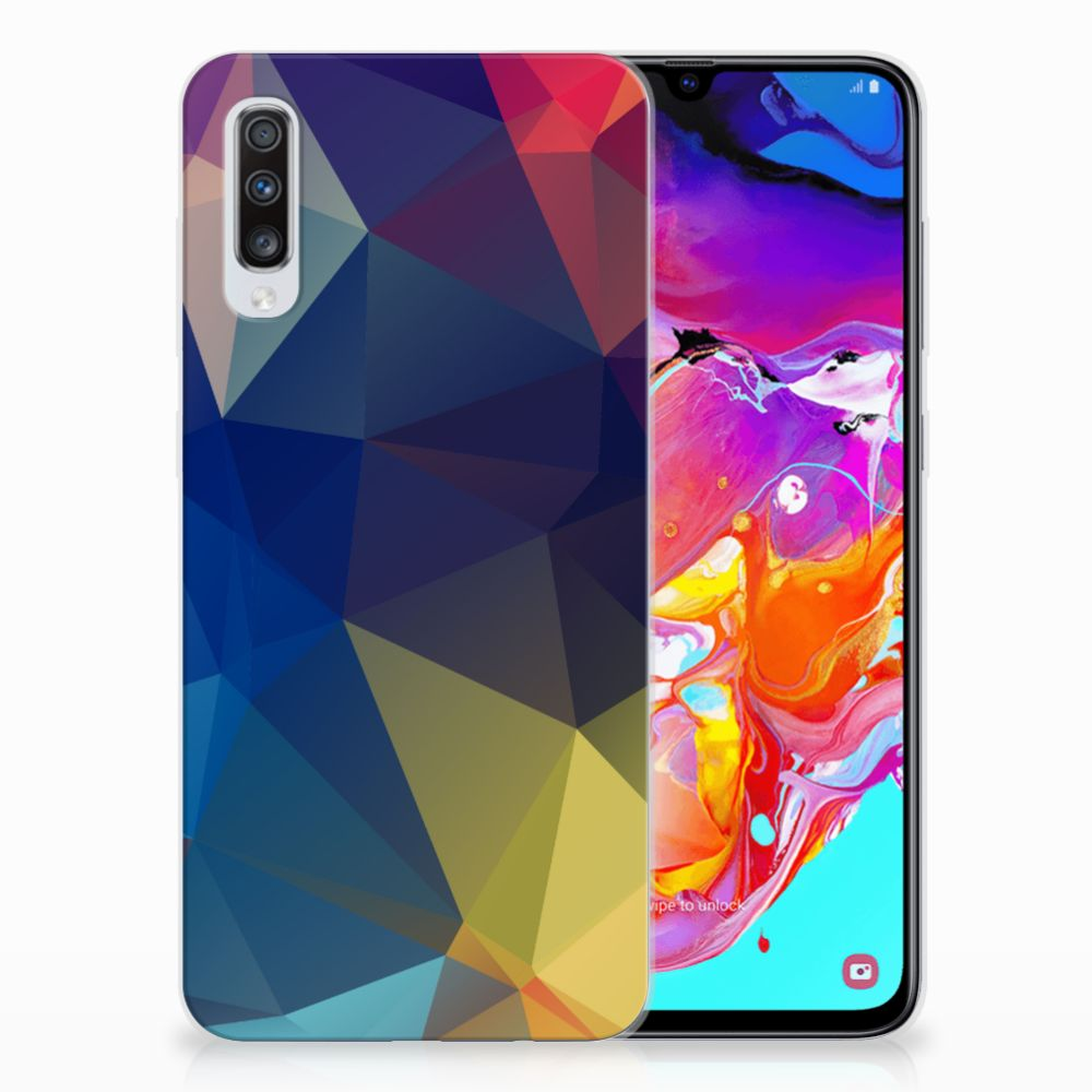 Samsung Galaxy A70 TPU Hoesje Polygon Dark