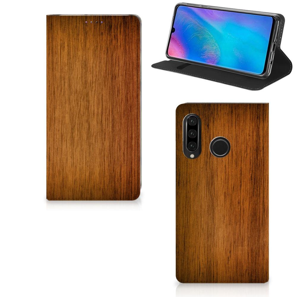 Huawei P30 Lite Book Wallet Case Donker Hout