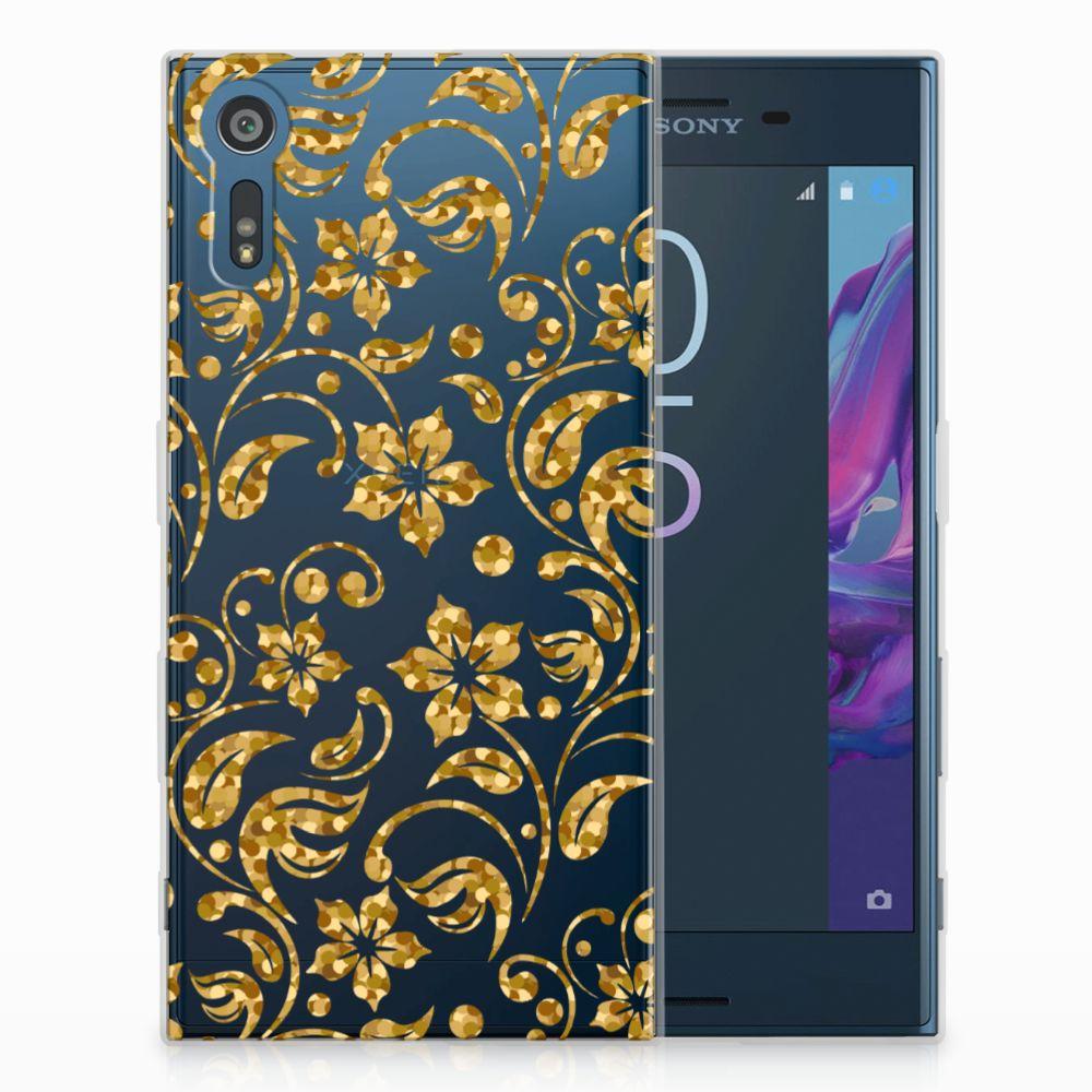 Sony Xperia XZs | XZ TPU Hoesje Design Gouden Bloemen