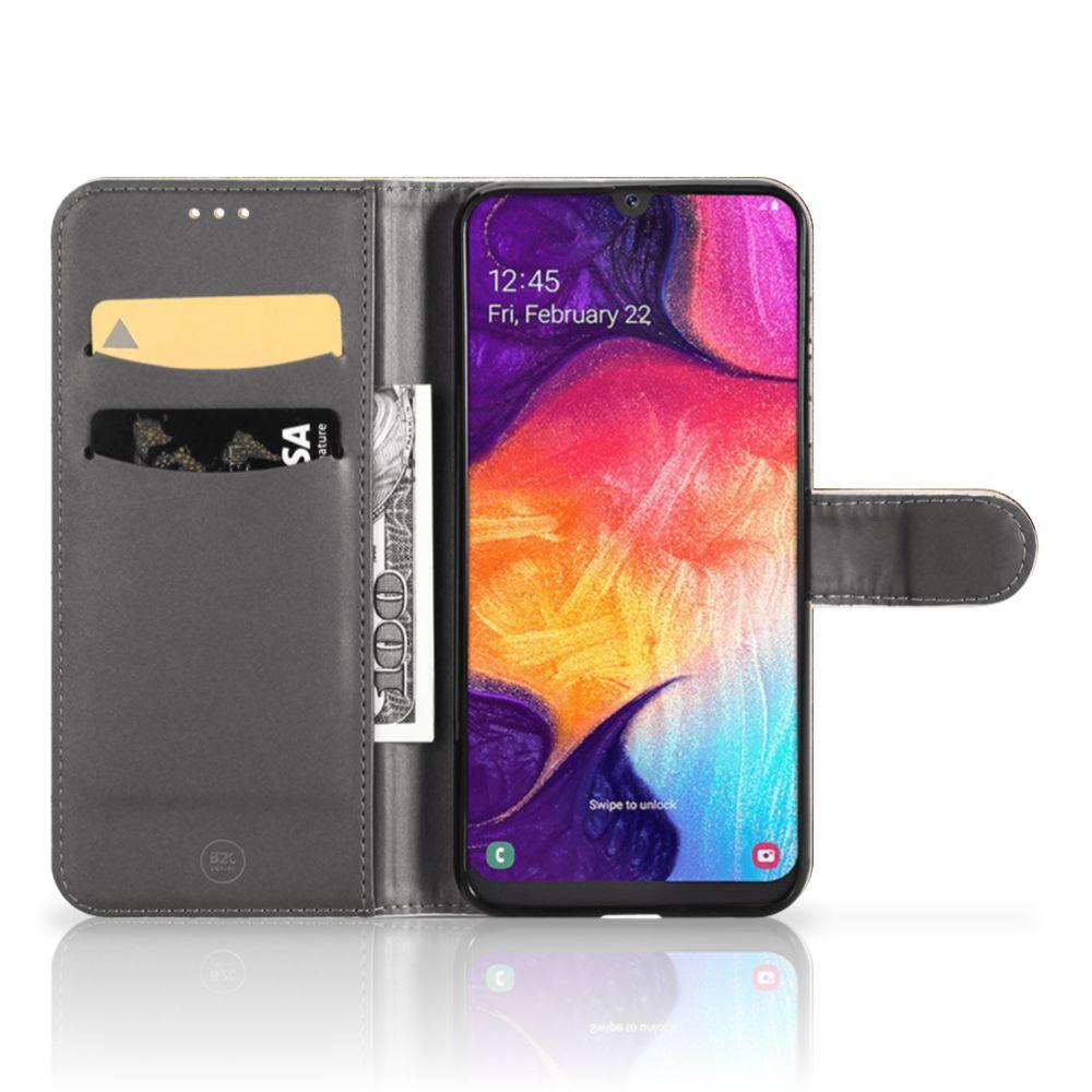 Samsung Galaxy A50 Flip Cover Wereldkaart