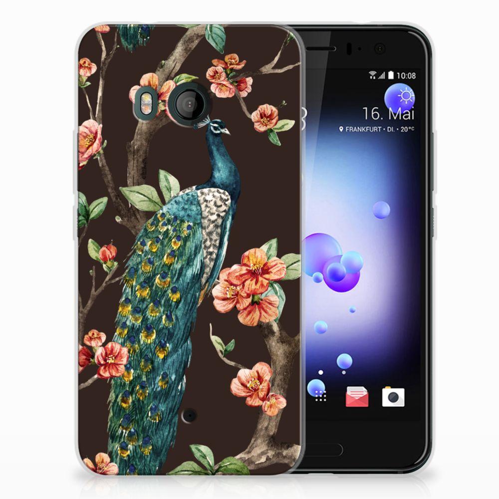 HTC U11 TPU Hoesje Design Pauw met Bloemen