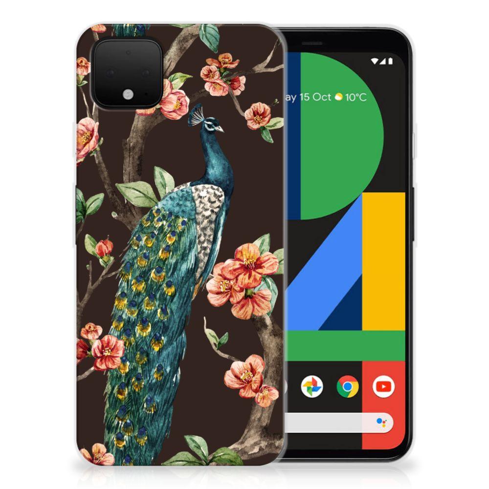 Google Pixel 4 XL TPU Hoesje Pauw met Bloemen