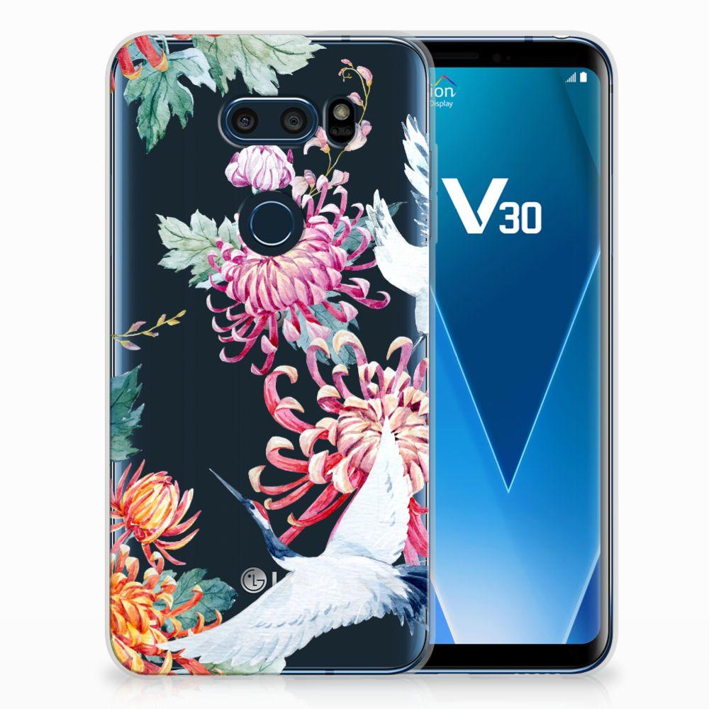 LG V30 TPU Hoesje Bird Flowers