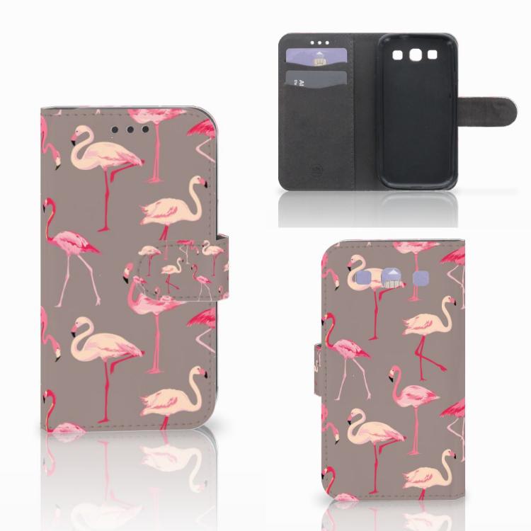 Samsung Galaxy S3 i9300 Telefoonhoesje met Pasjes Flamingo