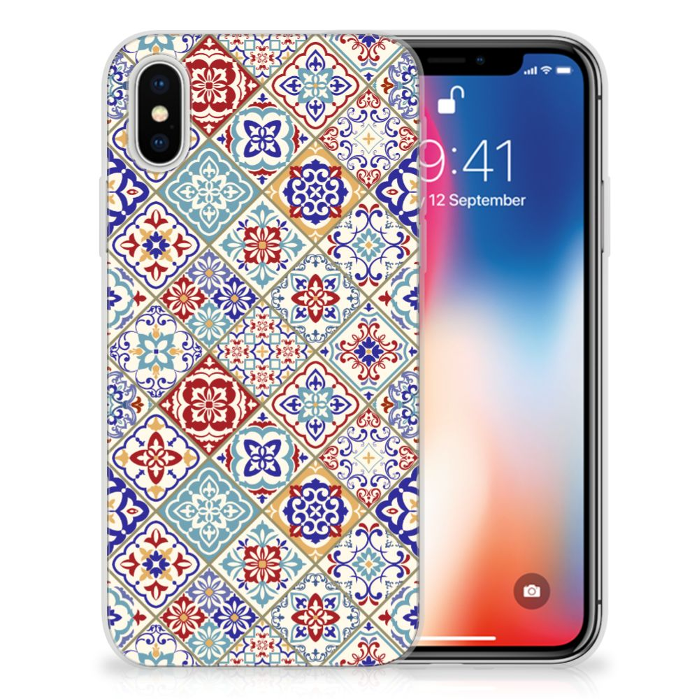 Apple iPhone X | Xs Uniek TPU Hoesje Tiles Color