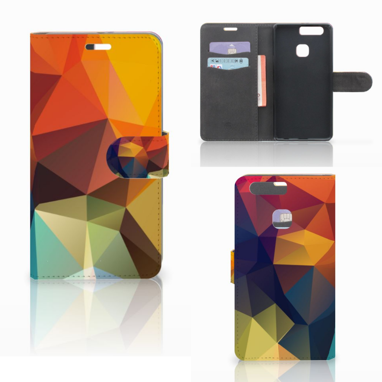 Huawei P9 Plus Bookcase Polygon Color