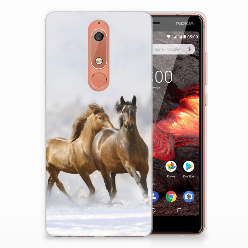 Nokia 5.1 (2018) TPU Hoesje Paarden