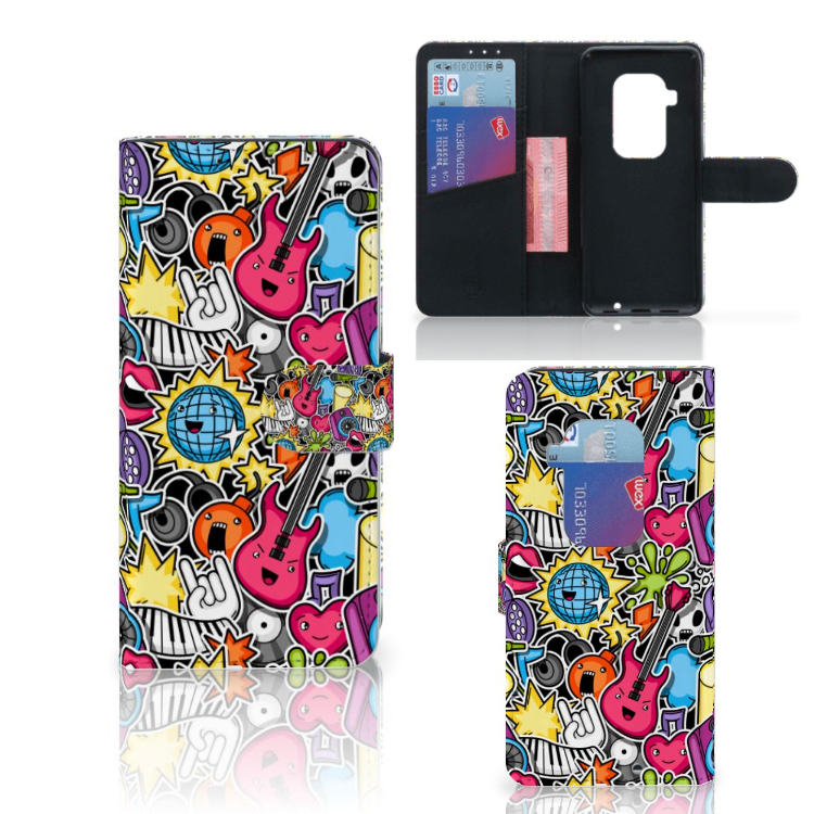 Motorola One Zoom Wallet Case met Pasjes Punk Rock