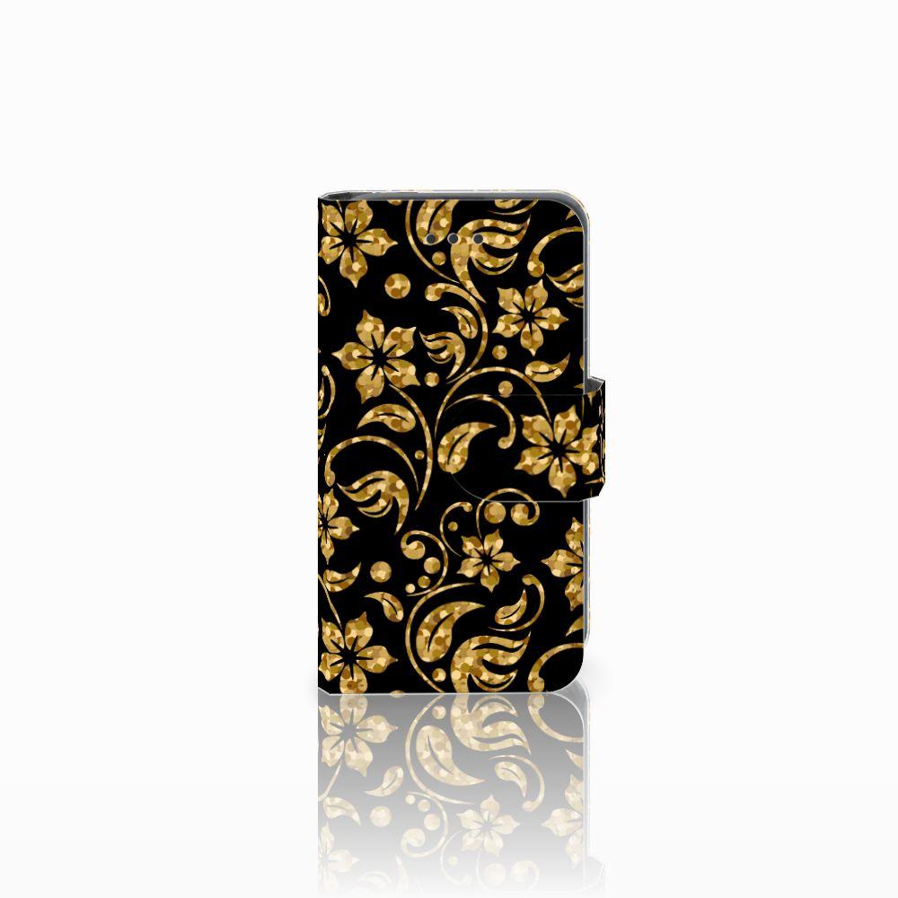 Nokia Lumia 530 Boekhoesje Design Gouden Bloemen