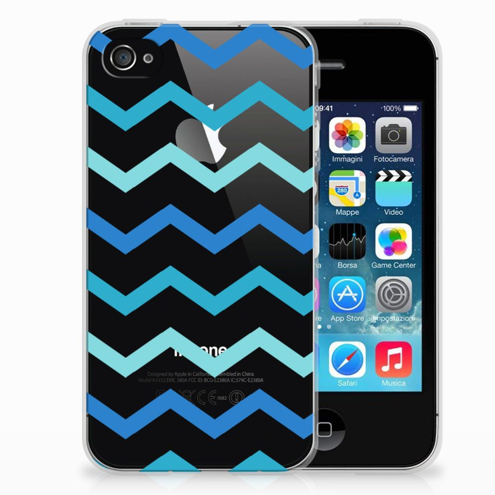Apple iPhone 4 | 4s TPU bumper Zigzag Blauw