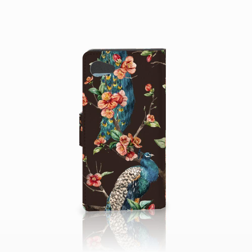 Sony Xperia Z5 Compact Telefoonhoesje met Pasjes Pauw met Bloemen