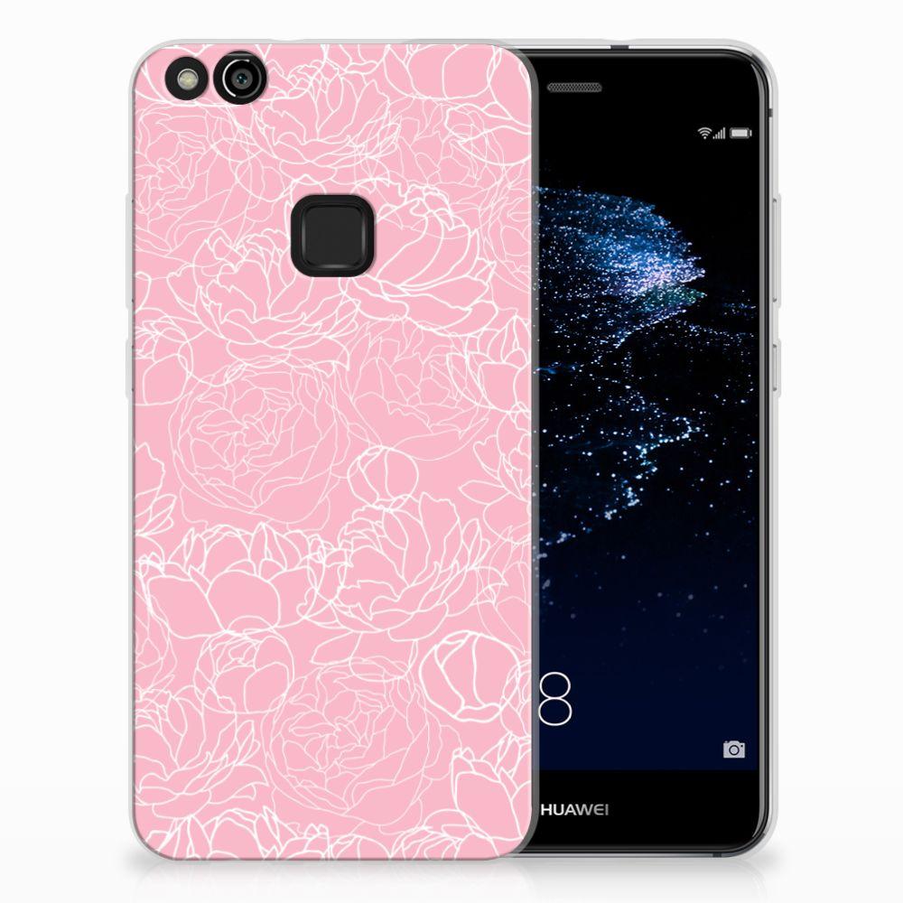 Huawei P10 Lite Siliconen Hoesje White Flowers