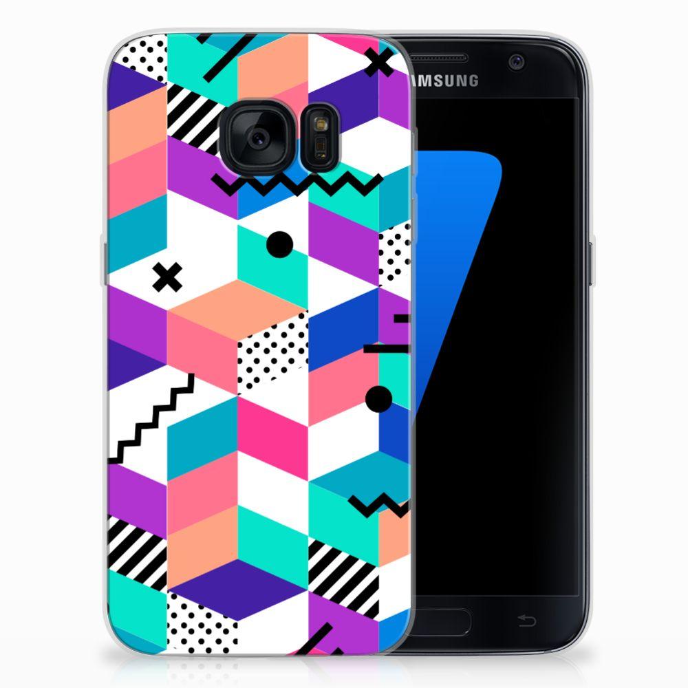 Samsung Galaxy S7 TPU Hoesje Blokken Kleurrijk