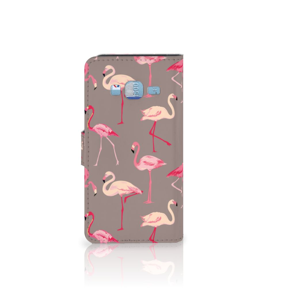 Samsung Galaxy J3 2016 Telefoonhoesje met Pasjes Flamingo