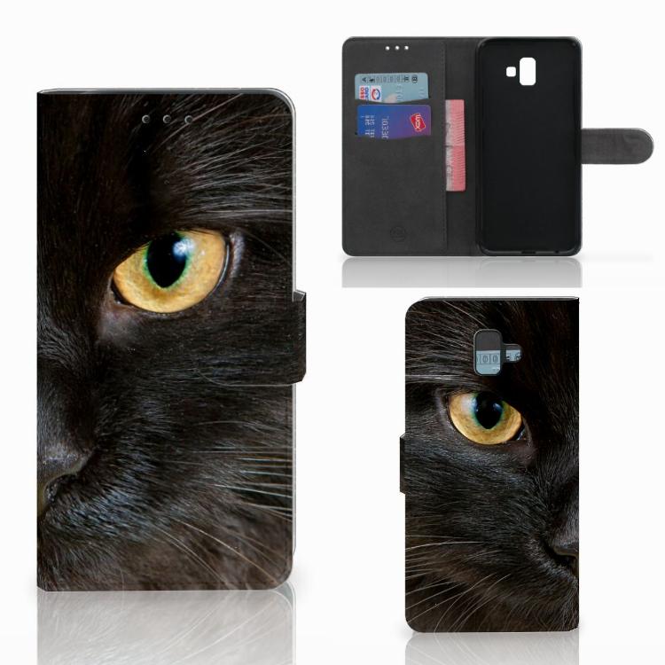 Samsung Galaxy J6 Plus (2018) Telefoonhoesje met Pasjes Zwarte Kat