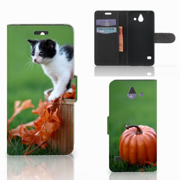 Huawei Ascend Y550 Telefoonhoesje met Pasjes Kitten