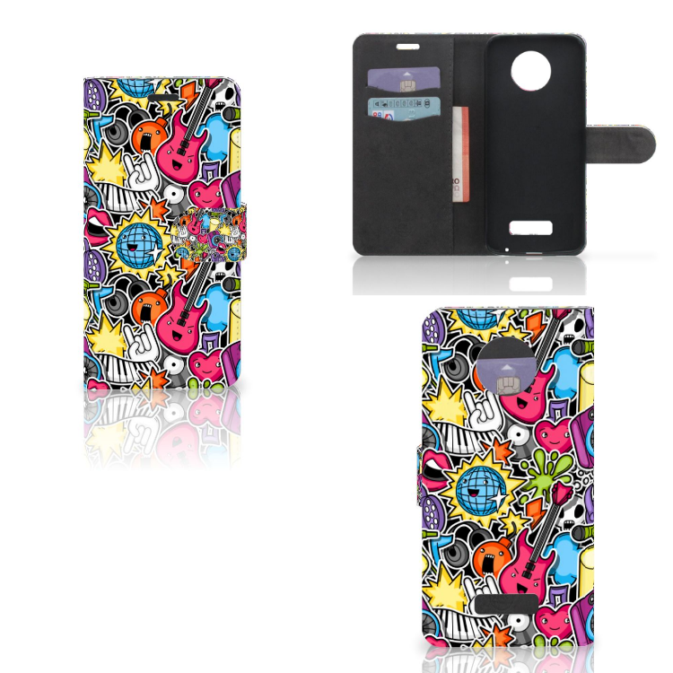 Motorola Moto Z Wallet Case met Pasjes Punk Rock