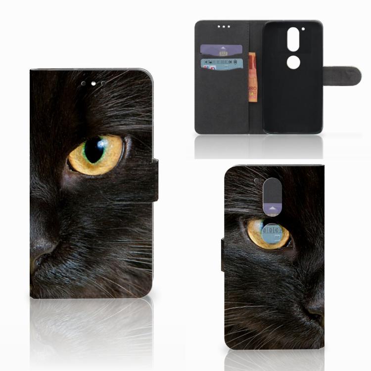 Motorola Moto G4 | G4 Plus Telefoonhoesje met Pasjes Zwarte Kat