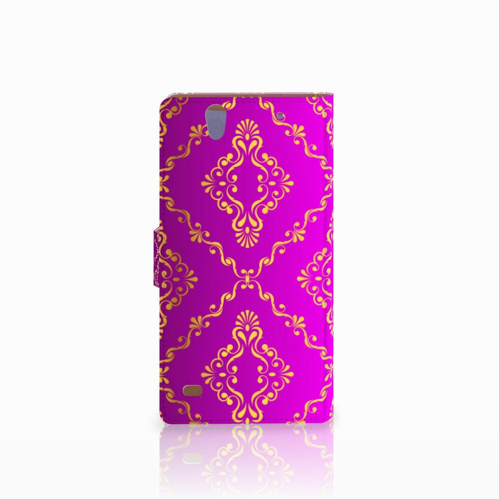 Wallet Case Sony Xperia C4 Barok Roze