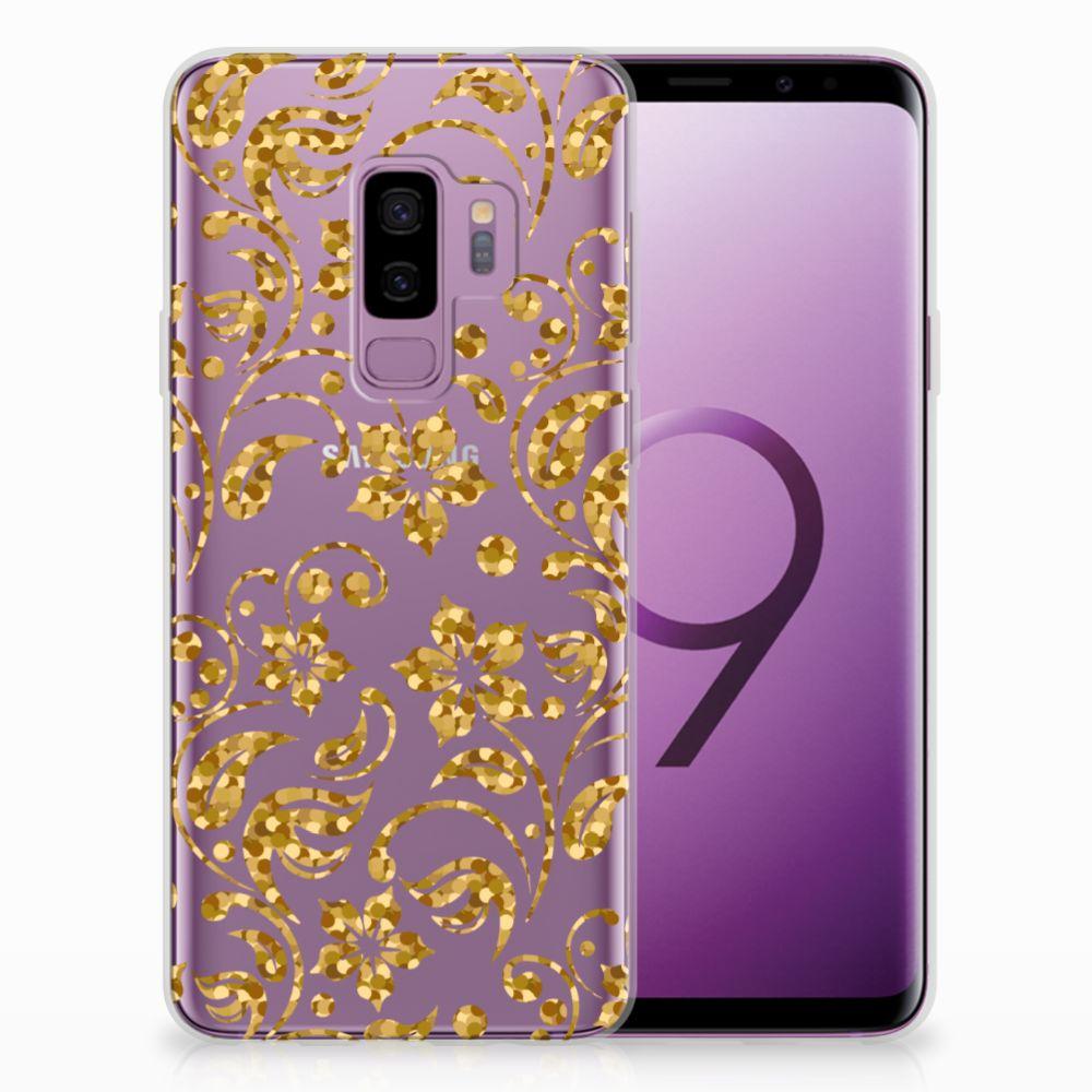 Samsung Galaxy S9 Plus TPU Hoesje Design Gouden Bloemen