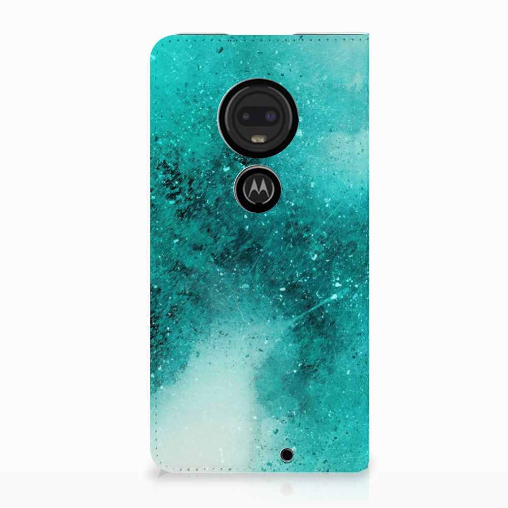Motorola Moto G7 | G7 Plus Uniek Standcase Hoesje Painting Blue