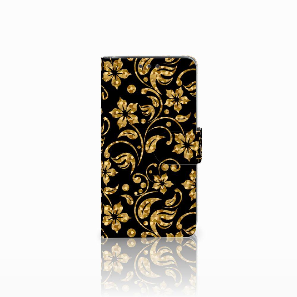 Samsung Galaxy J5 (2015) Boekhoesje Design Gouden Bloemen