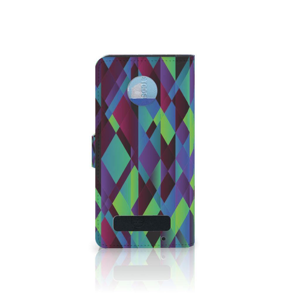 Motorola Moto Z Play Bookcase Abstract Green Blue