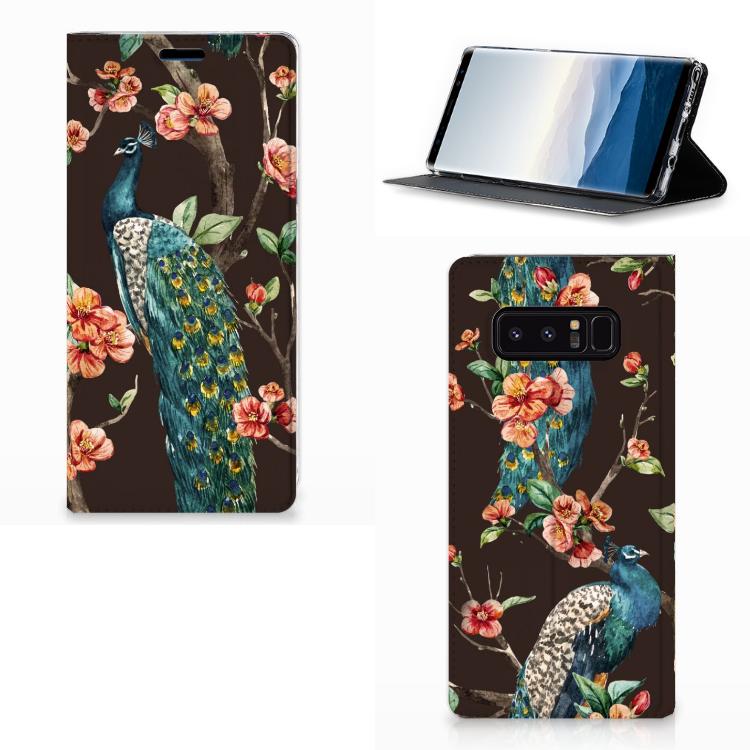 Samsung Galaxy Note 8 Hoesje maken Pauw met Bloemen