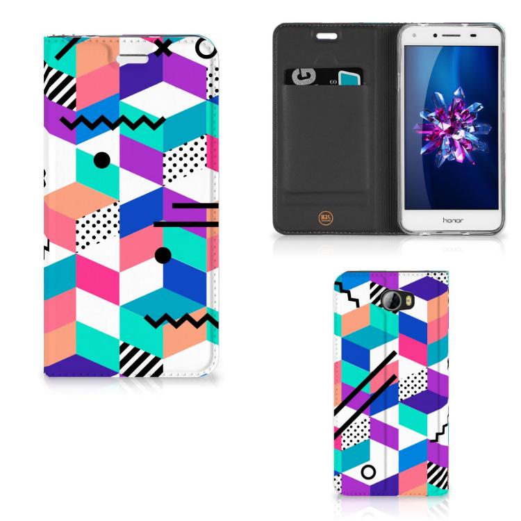 Huawei Y5 2 | Y6 Compact Stand Case Blokken Kleurrijk