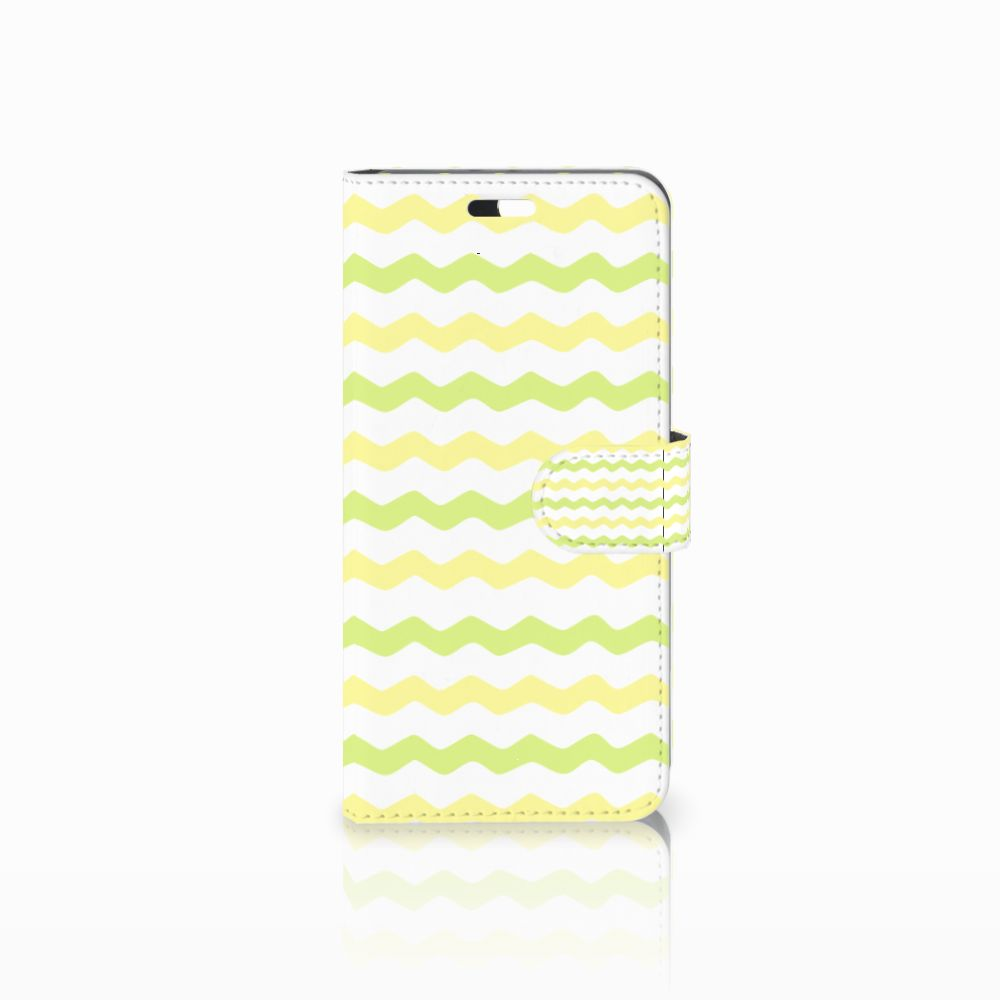Huawei P10 Plus Uniek Boekhoesje Waves Yellow