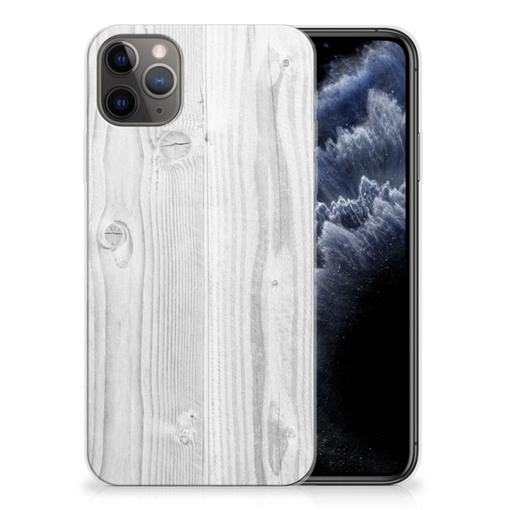 Apple iPhone 11 Pro Max Bumper Hoesje White Wood