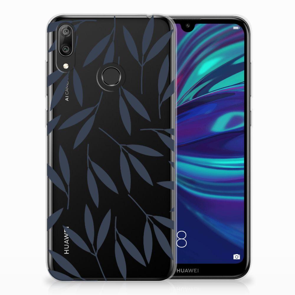 Huawei Y7 2019 TPU Hoesje Design Leaves Blue