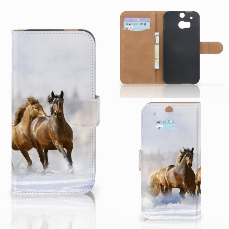 HTC One M8 Telefoonhoesje met Pasjes Paarden