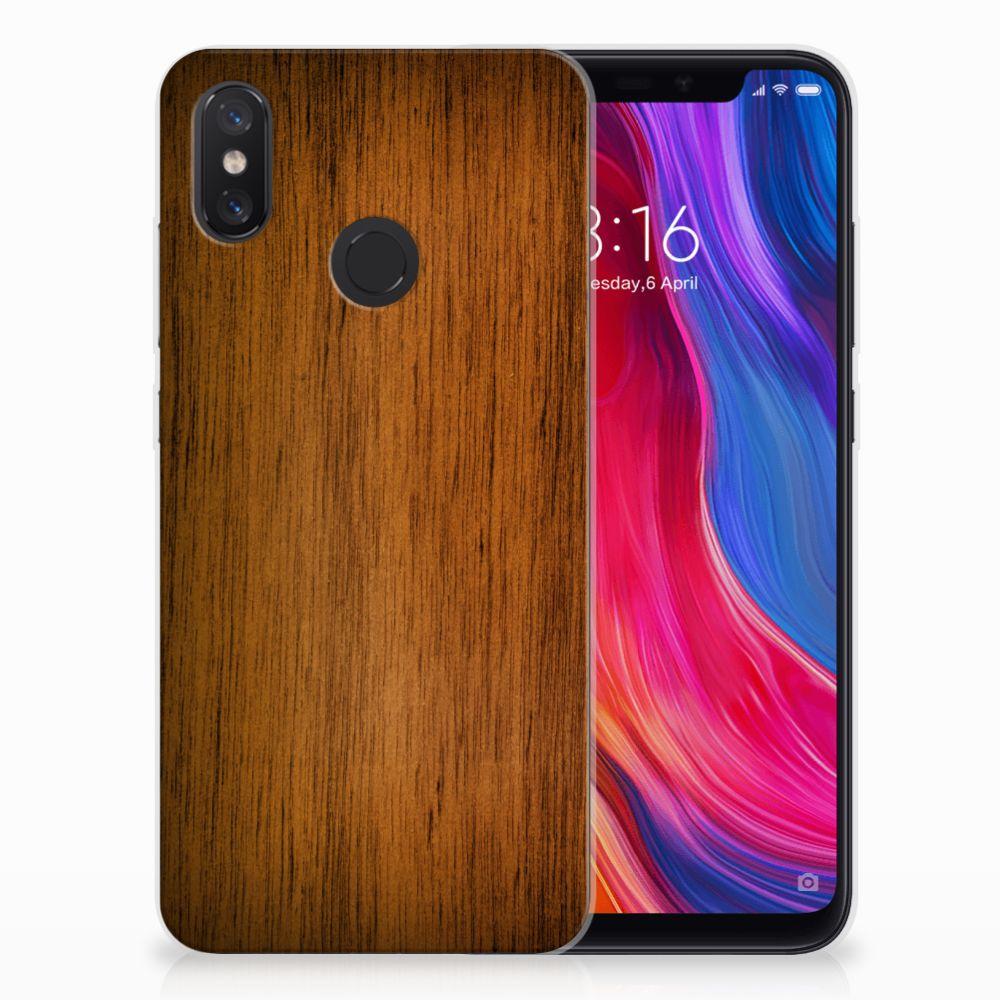 Xiaomi Mi 8 Uniek TPU Hoesje Donker Hout