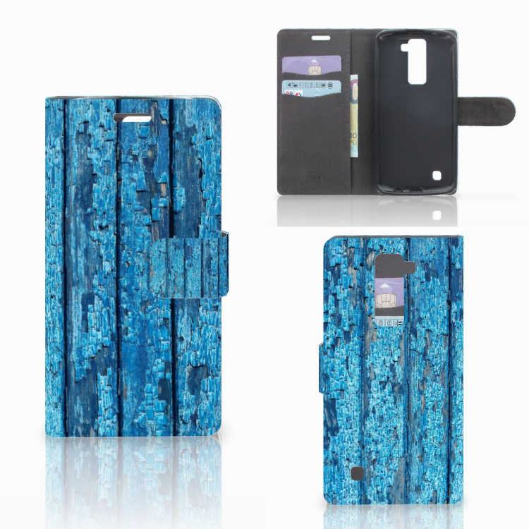 LG K10 2015 Book Style Case Wood Blue