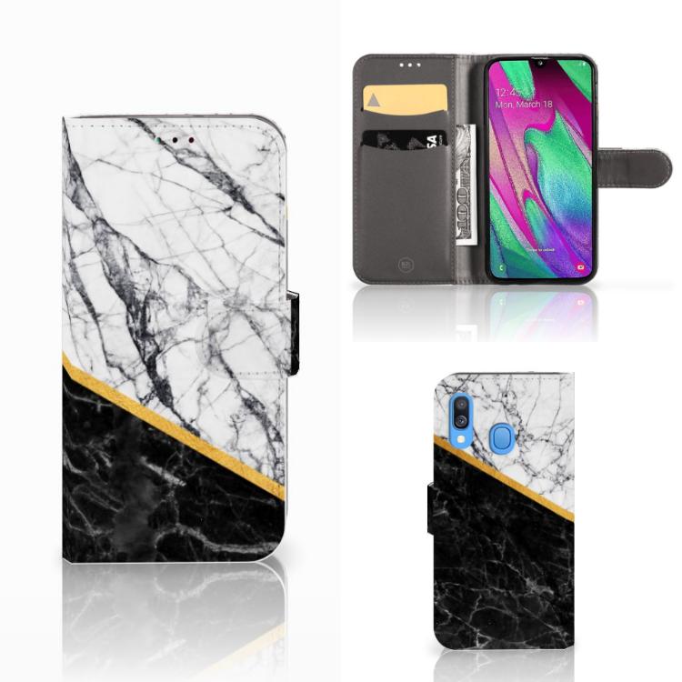 Samsung Galaxy A40 Bookcase Marmer Wit Zwart - Origineel Cadeau Man