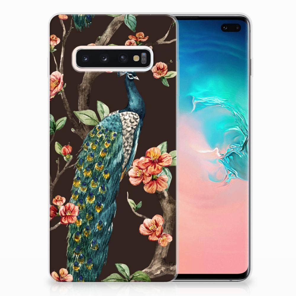 Samsung Galaxy S10 Plus TPU Hoesje Pauw met Bloemen