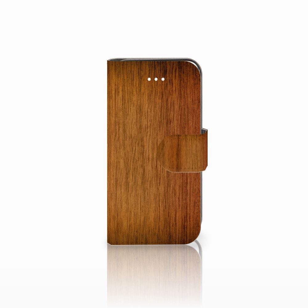 Apple iPhone 5 | 5s | SE Uniek Boekhoesje Donker Hout