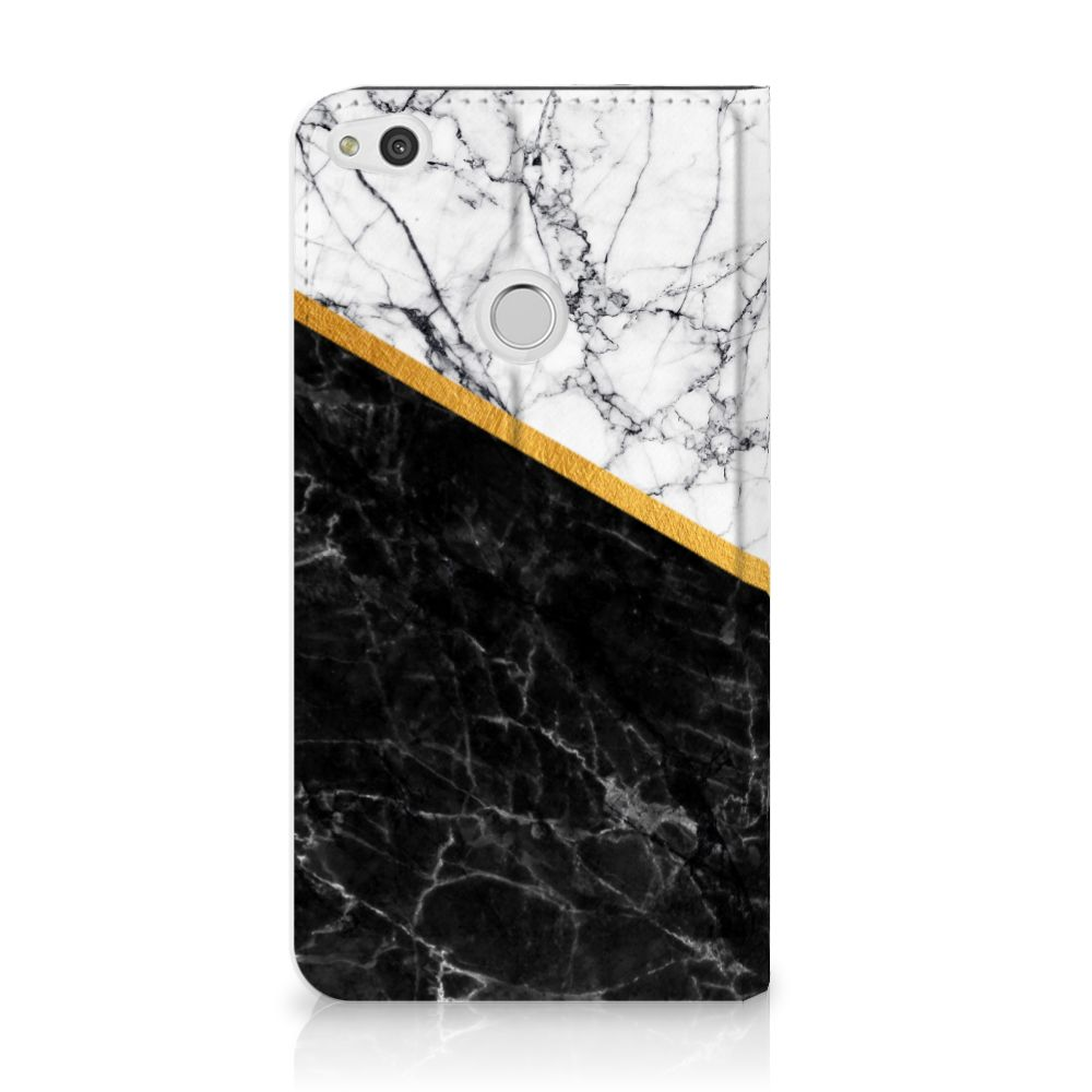Huawei P8 Lite 2017 Uniek Standcase Hoesje Marble White Black